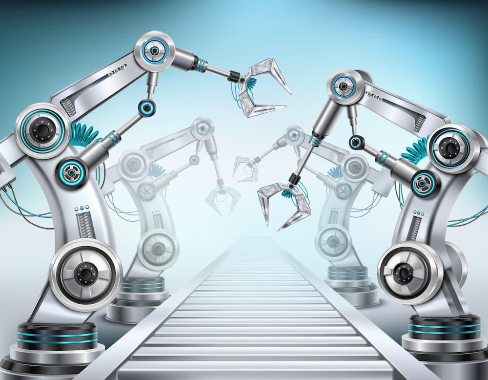 braços roboticos trabalhando
